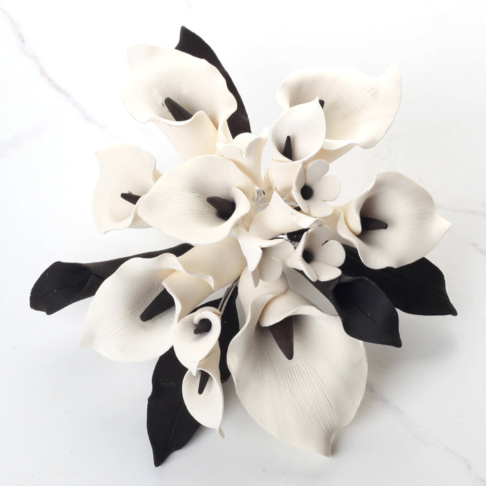 White & Black Calla Lily Cake Topper - Medium