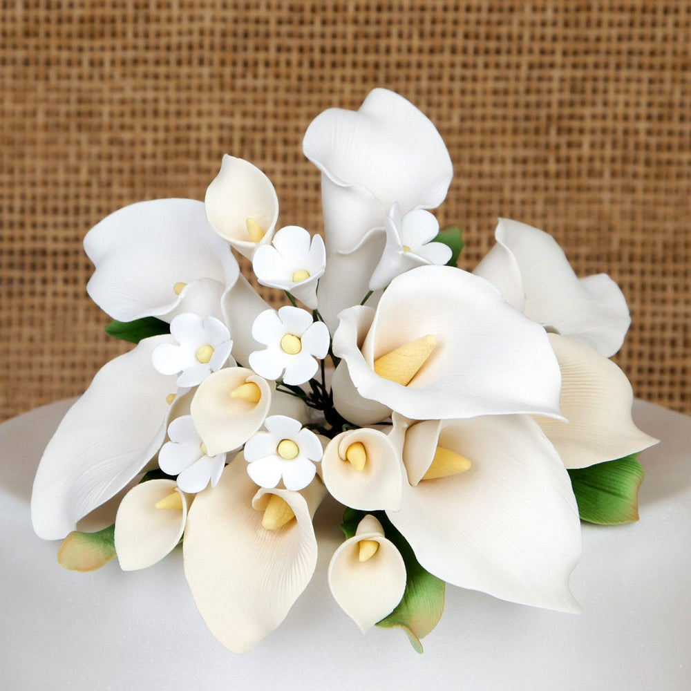 Gumpaste Sugar flower Large Calla Lily Cake Topper - Ivory for weddings or anniversary