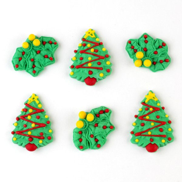 Edible Christmas Tree & Mistletoe Cupcake Toppers perfect for cake decorating cupcakes and cakes for Christmas time.  Wholesale cake & cupcake supplies.