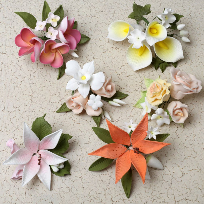 6 Small Mix Sprays are gumpaste sugarflower cake decorations perfect as cake toppers for cake decorating fondant cakes and wedding cakes. Caljava wholesale cake supply.6 Small Mix Sprays - Combo 2