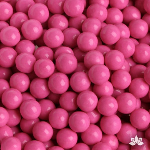 Edible Candy Pearls - Bright Pink Shimmer 7mm