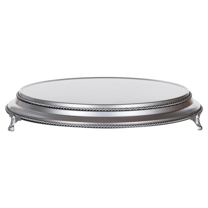 Amalfi Decor 16-inch round plateau metal wedding cake stand, silver finish