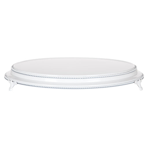 Amalfi Decor 18-inch round plateau metal wedding cake stand, white finish