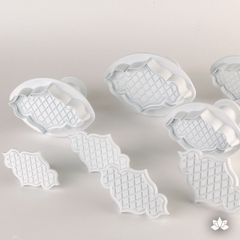 Creative Rolled Fondant Plaque Embossing Cutters and Plungers from PME gumpaste decorating tool for cake decorating, perfect for rolled fondant wedding cakes and birthday cakes.