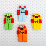 Edible Gumpaste Fondant Robots for Cake and Cupcake decor
