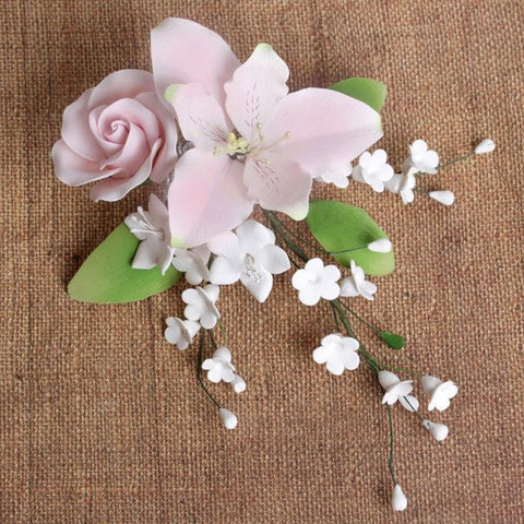 Pink Alstroemeria Lily Spray readymade sugarflower by hand from gumpaste. Cake decoration.