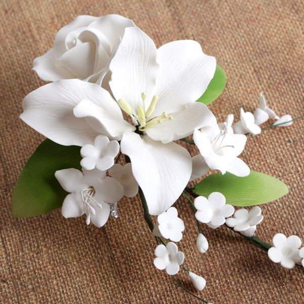 White Alstroemeria Lily Spray readymade sugarflower by hand from gumpaste. Cake decoration.