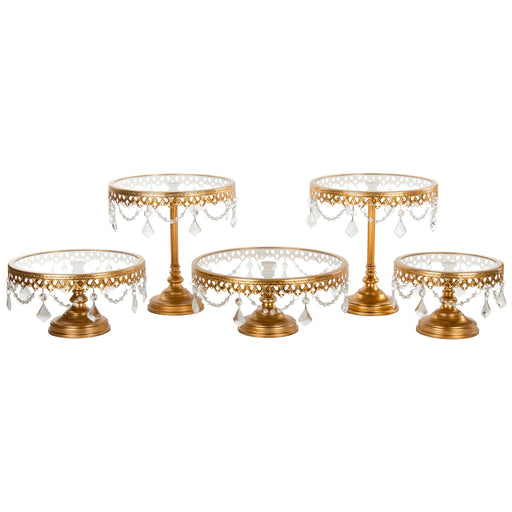 5-Piece Glass Top Crystal Cake Stand Set (Gold) by Amalfi Decor