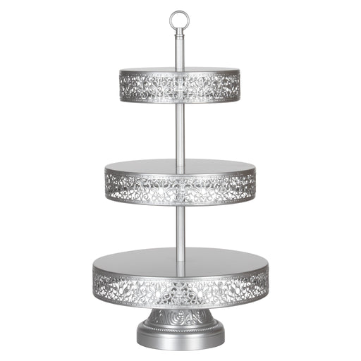 Victoria 3 Tier Antique Silver Metal Dessert Cupcake Stand by Amalfi Decor