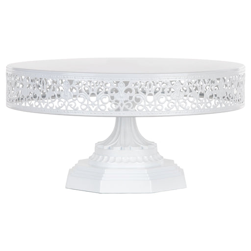 Isabelle 12 Inch White Round Metal Cake Stand by Amalfi Decor