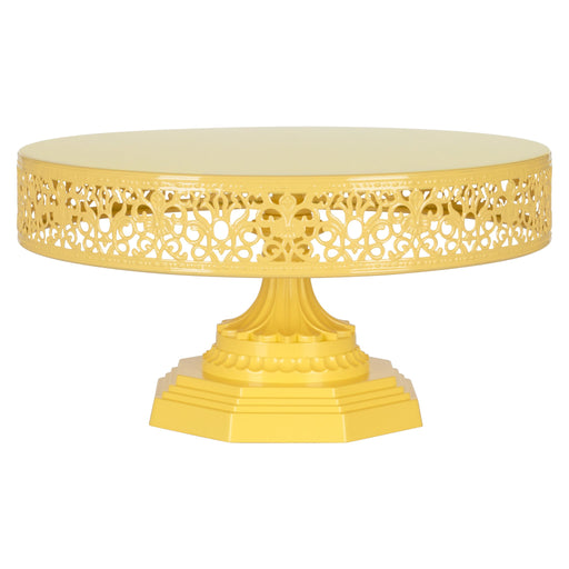 Victoria 12 Inch Yellow Round Metal Cake Stand by Amalfi Decor