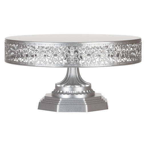Amalfi Decor 12 Inch Round Metal Wedding Cake Stand (Silver)