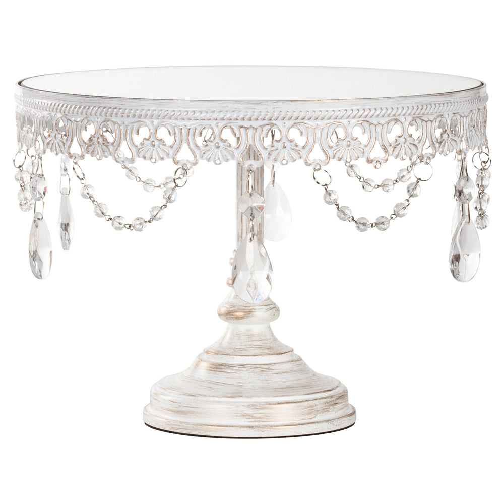 Anastasia 10 Inch Antique White Washed Mirror Top Cake Stand by Amalfi Decor