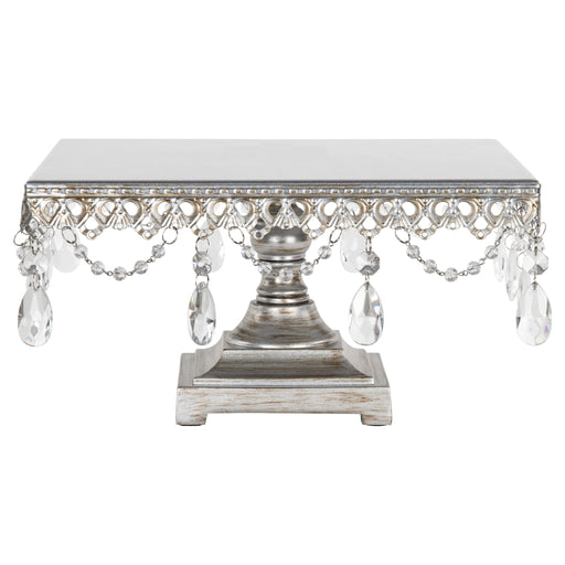 Anastasia Antique Silver Metal Square Cake Stand by Amalfi Decor