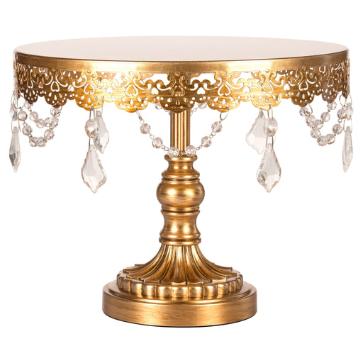 Sophia 10 Inch Antique Gold Crystal Draped Round Cake Stand by Amalfi Decor