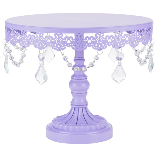 Sophia 10 Inch Lavender Purple Crystal Draped Round Cake Stand by Amalfi Decor