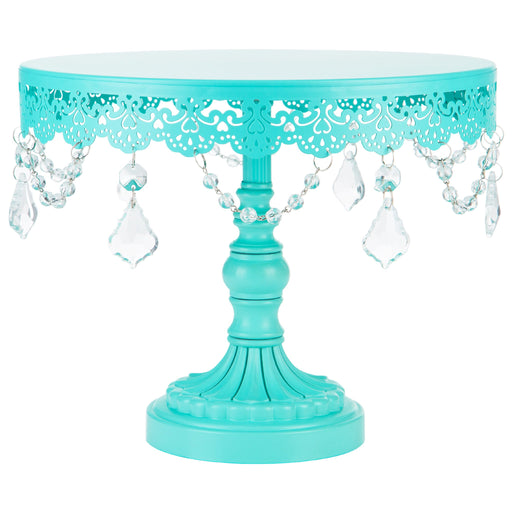Sophia 10 Inch Teal Crystal Draped Round Cake Stand by Amalfi Decor