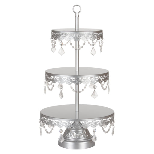 Sophia 3 Tier Antique Silver Crystal Draped Dessert Cupcake Stand by Amalfi Decor