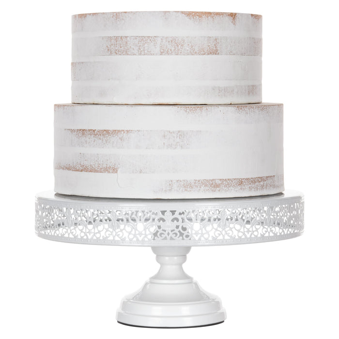Amalfi Decor White 14 Inch Round Metal Wedding Cake Stand
