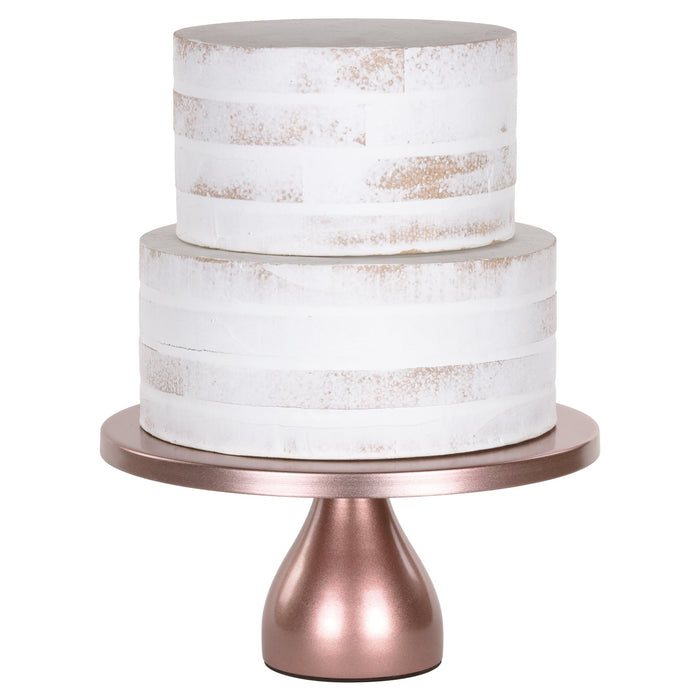 Jocelyn 12 Inch Rose Gold Round Metal Cake Stand by Amalfi Decor