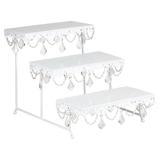 White 3-Tier Serving Platter and Cupcake Stand with Crystals by Amalfi Decor