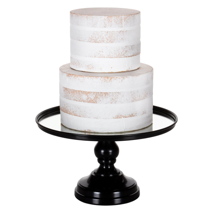 12 Inch Mirror-Top Cake Stand (Black) by Amalfi Decor