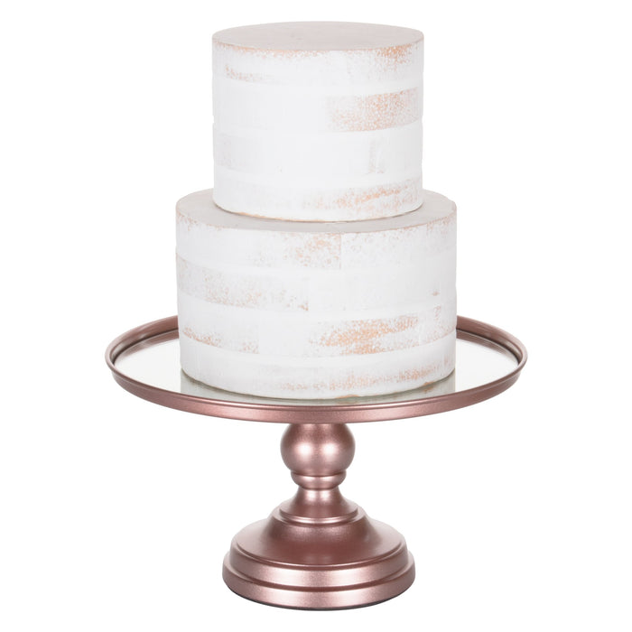 12 Inch Mirror-Top Cake Stand (Rose Gold) by Amalfi Decor