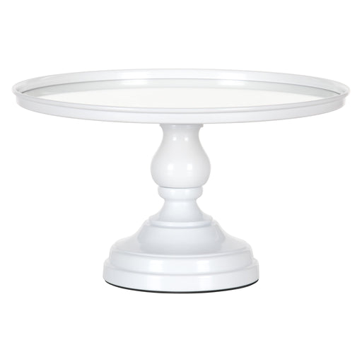 12 Inch Mirror-Top Cake Stand (White) by Amalfi Decor