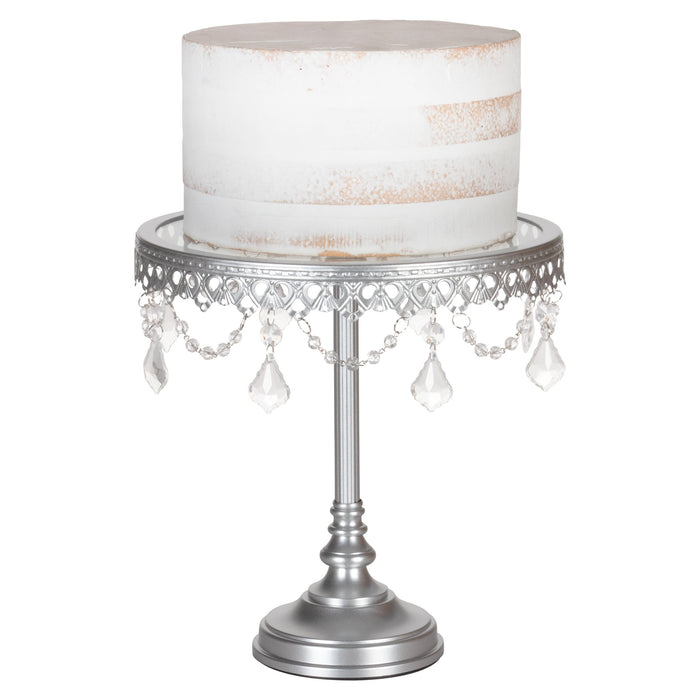 Amalfi Decor 10-Inch Antique Silver Glass top cake stand with crystals