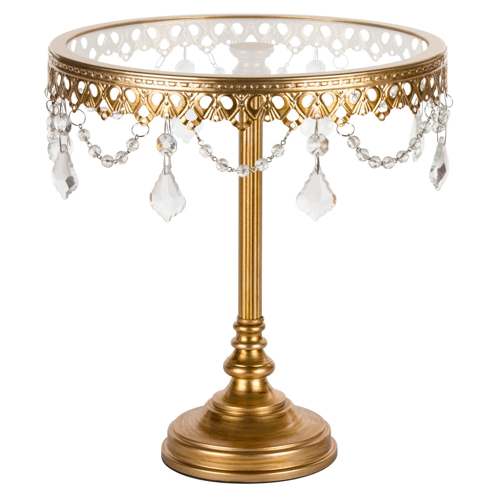 Amalfi Decor 10-Inch Antique Gold Glass top cake stand with crystals