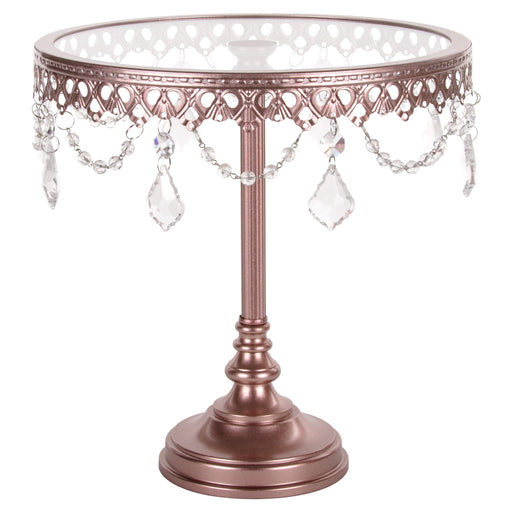Amalfi Decor 10-Inch Rose Gold Glass top cake stand with crystals