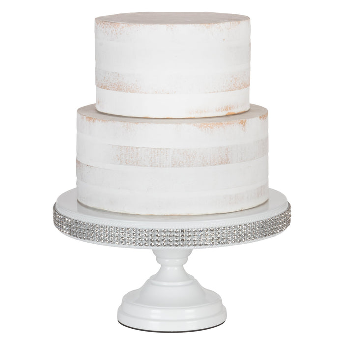 12 Inch White Jeweled Trim Modern Metal Cake Stand by Amalfi Decor