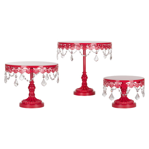 Amalfi Decor Red 3-Piece Crystal Cake Stand Set