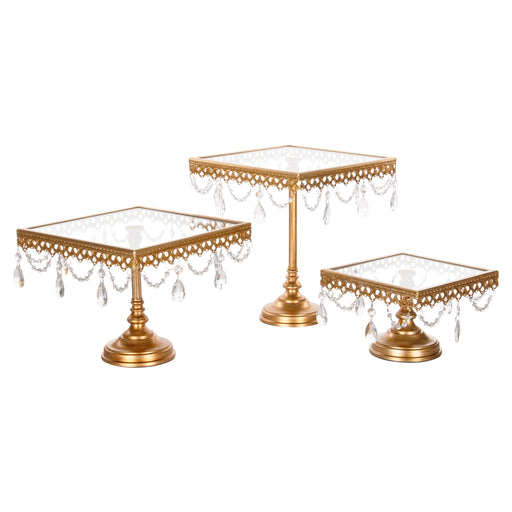 3-Piece Square Glass-Top Crystal Cake Stand Set (Gold)