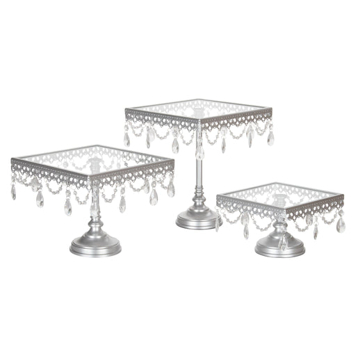 3-Piece Square Glass-Top Crystal Cake Stand Set (Silver)