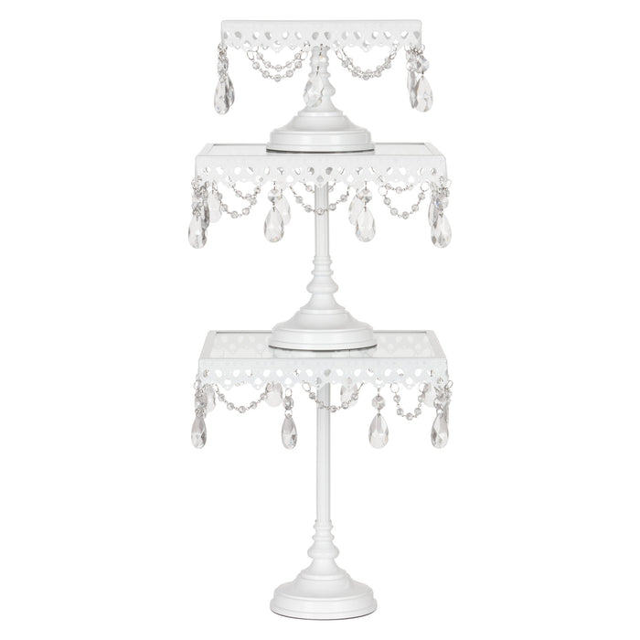 White 3-Piece Square Glass-Top Crystal Cake Stand Set by Amalfi Decor