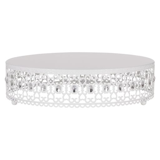 Amalfi Decor 16 Inch Metal Wedding Cake Stand Riser with Crystal Rhinestones (White)