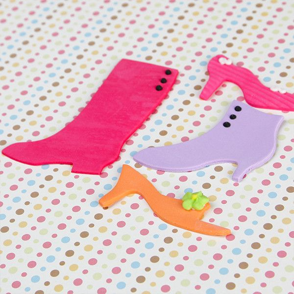 Edible Fondant Variety of Shoes CupCake Toppers perfect for christmas cakes & cupcakes.