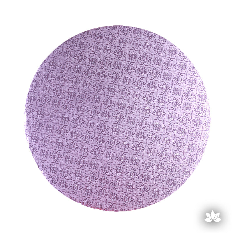 Cake Drum Round Foil Lilac, great for displaying your decorated cake while providing a sturdy base for transporting your cake.