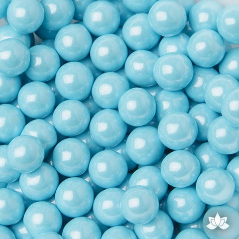 Blue Chocolate Candy Pearls cake decorations perfect for cake decorating cakes and cupcakes. Wholesale cake supply. Caljava