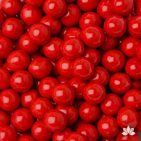 Red Chocolate Candy Pearls cake decorations perfect for cake decorating cakes and cupcakes. Wholesale cake supply. Caljava