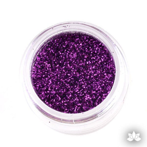 Grape purple Disco Dust Pixie Dust. Disco Dust is a Non-toxic fine glitter for cake decorating that will add a touch of color to your fondant cakes & cupcakes.