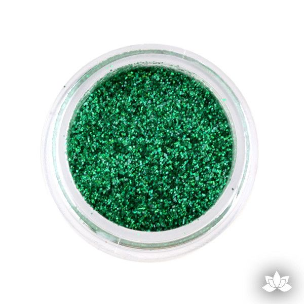 Kelly Green Disco Dust Pixie Dust. Disco Dust is a Non-toxic fine glitter for cake decorating that will add a touch of color to your fondant cakes & cupcakes.  Caljava Wholesale cake supply. FondX