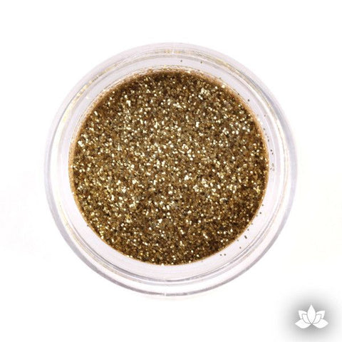 Soft gold Disco Dust Pixie Dust. Disco Dust is a Non-toxic fine glitter for cake decorating that will add a touch of color to your fondant cakes & cupcakes.