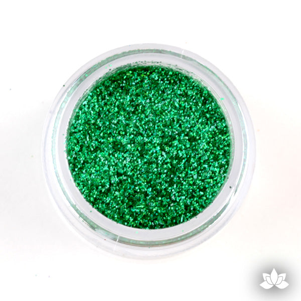 Emerald Green Disco Dust Pixie Dust. Disco Dust is a Non-toxic fine glitter for cake decorating that will add a touch of color to your fondant cakes & cupcakes.  Caljava Wholesale cake supply. FondX