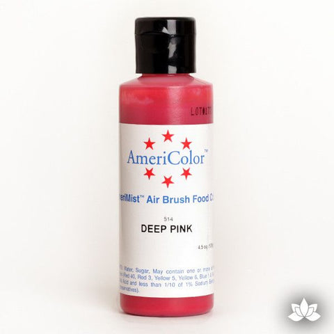 Deep Pink AmeriMist Air Brush Color 4.5 oz is a highly concentrated air brush color perfect for coloring non-dairy whipped icing, toppings, rolled fondant, gum paste flowers, and buttercream. Wholesale edible air brush color.