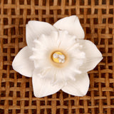White Gumpaste Daffodil Sugarflowers are perfect cake decorating fondant wedding cakes & cupcakes. Handmade cake toppers from gumpaste/fondant. Great for cake decorating your own cake. | CaljavaOnline.com