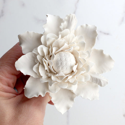 Sugar flower Dahlia handmade from gumpaste, perfect as cake toppers when decorating your own cakes. Fits on fondant and buttercream cakes.  Caljava cake decorations and bakerys supply.