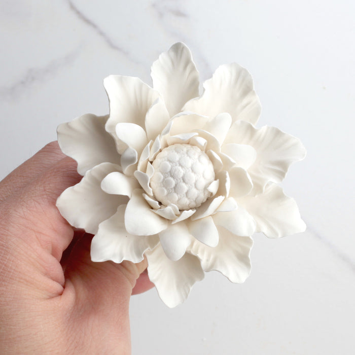 Gumpaste Dahlia Sugarflowers are perfect for cake decorating fondant wedding cakes & cupcakes. Handmade cake toppers from gumpaste/fondant. Wholesale sugarflower. Caljava Bakery Supplies