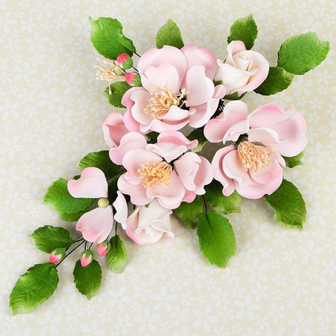 Dog Rose Combo Sprays in Pink are gumpaste sugarflower cake decorations perfect as cake toppers for cake decorating fondant cakes and wedding cakes. Caljava wholesale cake supply.